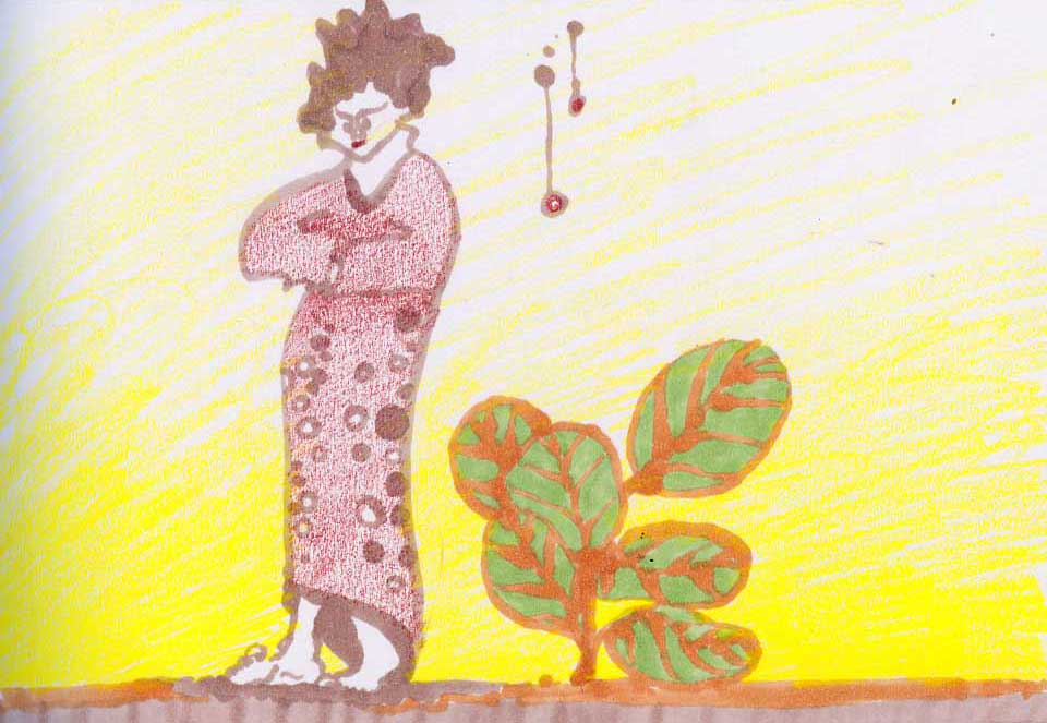 image: drawing of person walking in a kimono